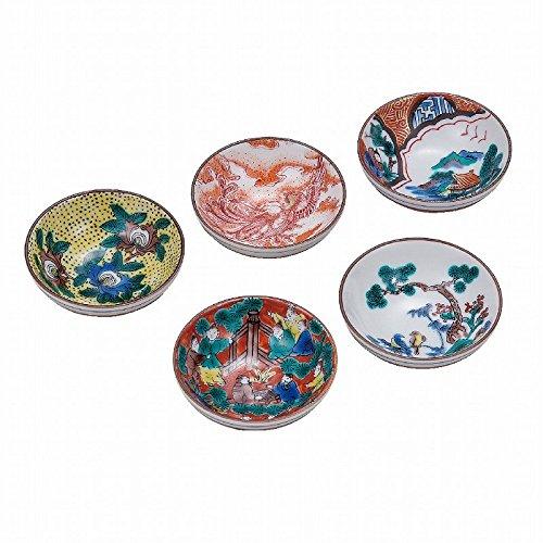 Jpanese traditional ceramic Kutani ware. Set of 5. Guinomi Sake cup. Histolical picture. With wooden box. ktn-K5-1163