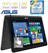 2017 ASUS 15.6 2-in-1 Touchscreen FHD (1920 x 1080) Laptop PC, 7th Gen Intel Core i7-7500 2.7GHz, 12GB DDR4 RAM, 2TB HDD, Bluetooth, NVIDIA 940MX Graphics, Backlit Keyboard, Windows 10