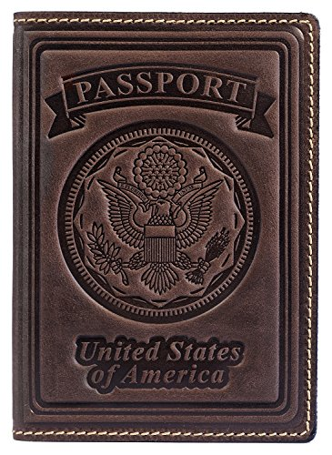 Villini 100% Leather US Passport Holder Cover Case For Men Women In 9 Colors (Brown - For Men Leather Case Travel