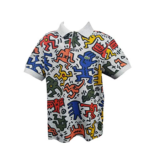 Lacoste Big BOY Keith Haring All Over Print Mini ME Pique Polo, Silver Chine/Multi 8YR