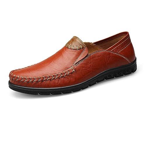 Bragas de Piel auténtica para Hombre Casual Mocasines Zapatillas Mocasines Transpirable Zapatillas de guía A La Moda.: Amazon.es: Zapatos y complementos