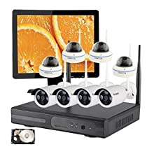 Vcamdo 8 Channel Wireless 720P 1MP IP Camera Surveillance Security CCTV System Night Vision Smart Cell Phone Remote View with 3TB HDD Hard Drive with 15 LED HDMI Monitor