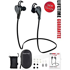 Bluetooth Earphones for Running - Sweat Proof Workout Mini Sport Wireless Earbuds with Quality Beats Stereo Sound, Noise Isolating Technology. Bonus EVA Case & Pouch