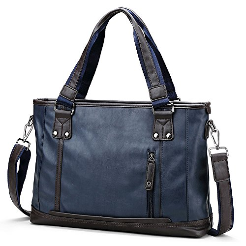 (JN3011-C) monedero bolso de cuero de la PU 3-way A4 bolso de hombro azul marino bolso ligero negro bolso ligero de gran capacidad a prueba de agua Azul