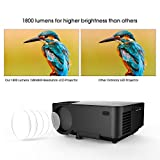 DBPOWER T20 1800 Lumens LCD Mini Projector, Multimedia Home Theater Video Projector Support 1080P HDMI USB SD Card VGA AV for Home Cinema TV Laptop Game iPhone Android Smartphone with HDMI Cable Black