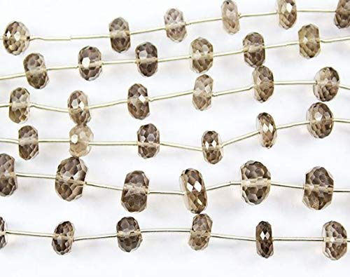Beads Bazar Natural Beautiful jewellery 2 Strand Natural Smoky Quartz Faceted Rondelle Micro Craft Loose Beads 7