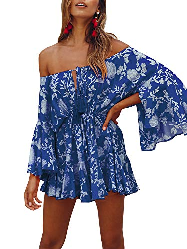 - GAMISOTE Womens Off Shoulder Mini Dress Bell Sleeves Boho Floral Print Short Sundress Navy