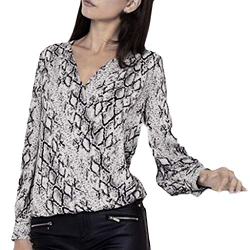 Price comparison product image TWGONE Snake Print Tops For Women V Neck Serpentine Printing Long Sleeves Blouse(Small, Gray)