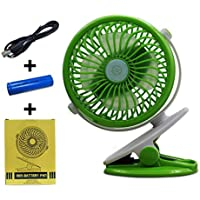 USB Fan Mini Clip On Desk Fans with Rechargeable Battery Powered for Baby Stroller, Metal Design and 4.9ft USB Cable, Enhanced Airflow, Lower Noise (Green)
