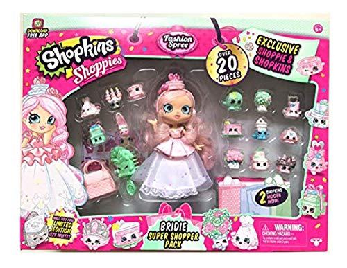 (Shopkins Shoppies Bridie Exclusive Super Shopper Pack - Bride Doll Wedding Fashion Shopping Spree (20+Piece) Pink)
