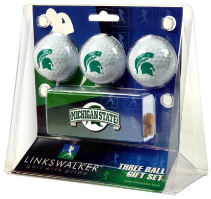 LinksWalker Michigan State Spartans 3 Ball Gift Pack with Hat Clip