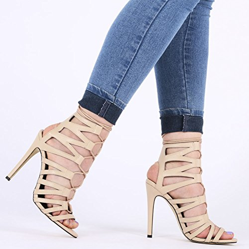 Womens Lace Up Detailing Design Stiletto Peep Toe High Heels Nude 3-8 8Dz2l