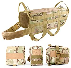 JASGOOD Tactical Dog Vest Harness Handle Training Dog Vest with Detachable Molle Pouches/Patches