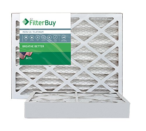 AFB Platinum MERV 13 16x25x4 Pleated AC Furnace Air Filter. Pack of 2 Filters. 100% produced in the USA.