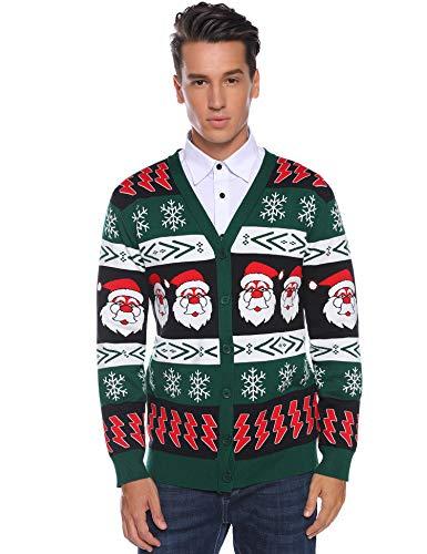 Aibrou Mens Ugly Christmas Cardigan Sweaters Snowflake Santa Holiday Sweater