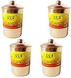 SHIV SHAKTI ARTS Handmade Set Of 4 Pure Copper Plane Box For Dry Fruits , Choclates Etc Storage Purpose