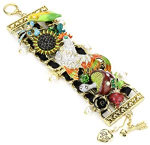"Betsey Johnson ""Farmhouse"" Rooster Multi-Charm Wide Toggle Bracelet"