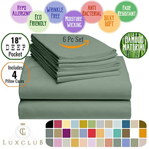 6 PC LuxClub Sheet Set Bamboo Sheets Deep Pockets 18