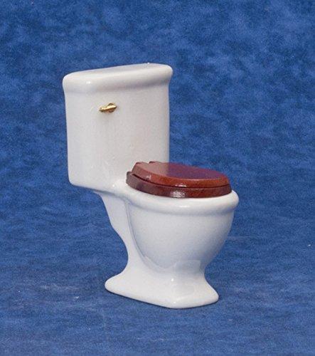 White Ceramic Dollhouse Toilet with Wooden Toilet Seat 1:12 Scale Miniature