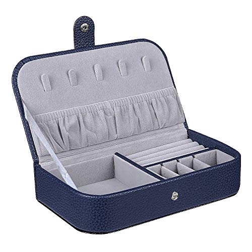 misaya Travel Jewelry Box Middle Size Storage Case for Necklace Earrings Rings Portable Jewelry Organizer for Women, Navy Blue