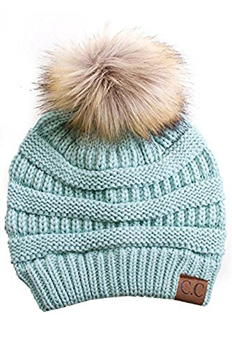 Gravity Threads Cable Knit Faux Fur Pom Pom Beanie Hat Mint