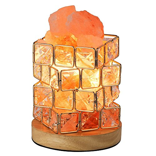 HALOViE Himalayan Salt Lamp With Elegant Wooden Base Natural Salt Crystal Lamp Air Purifier Night with dimmer control 3.3 Pound by HALOViE