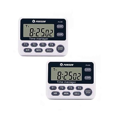 Timer da cucina, 4 canali LCD timer da cucina digitale 2 pezzi ...