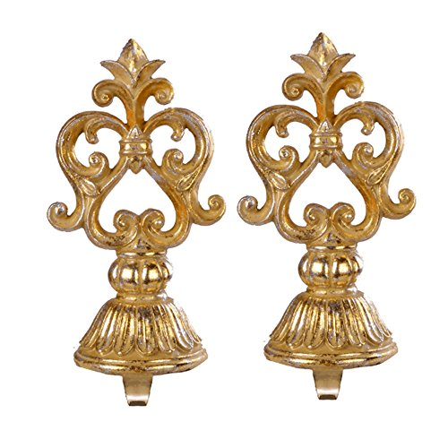 Set of 2 Christmas Stocking Hangers for Mantle Fireplace Gold Stocking Holders