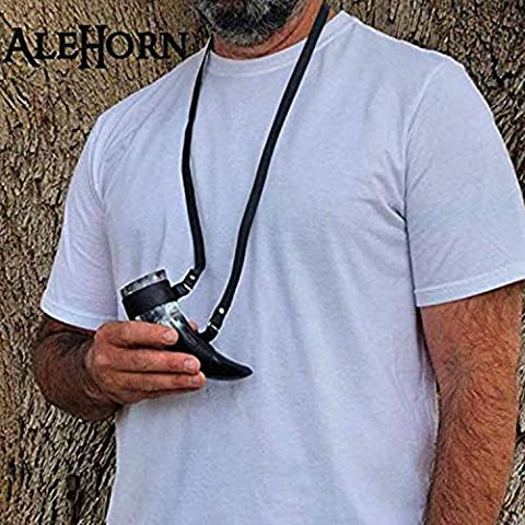 AleHorn Genuine Handmade Pocket Viking Drinking Horn Authentic Toasting Vessel Shot Glass Perfect for Whiskey Beer Wine…