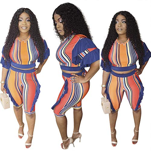 (Ekaliy Women Stripes 2 Piece Outfits Short Sleeve Capris Jumpsuits Rompers Ruffles Clubwear)