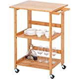 Harper&Bright Designs WF039320DAA Home Kitchen Island Storage Cart Folding Wheels, Nature