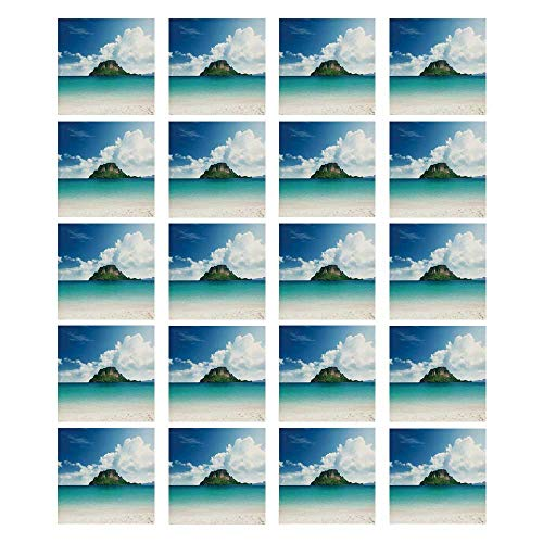 (TecBillion Ocean Island Decor 3D Ceramic Tile Stickers 20 Pieces,Poda Island in Thailand South Asian Tropic Paradise Hot Sun with Clouds Photo for Living Room Kitchen,7.8