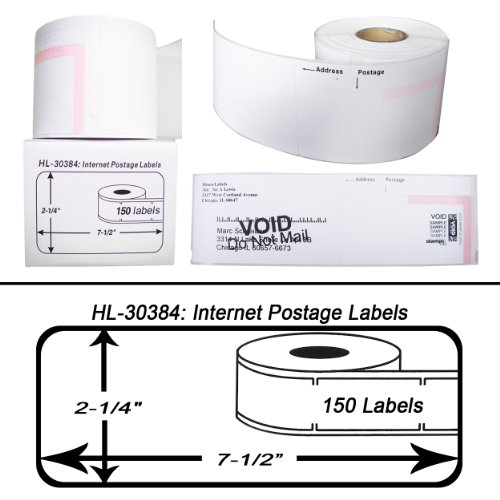 Houselabels 2-1/4 x 7-1/2 Inches Dymo Compatible 30384 2-Part Internet Postage Labels, 1 Roll, 150 Labels per (2 Part Internet Postage Labels)