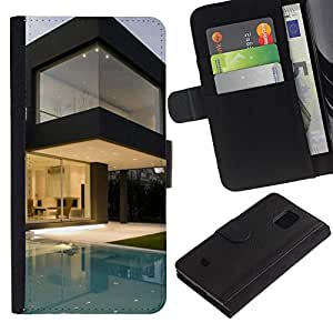 KingStore / Leather Etui en cuir / Samsung Galaxy S5 Mini, SM-G800 / Arquitectura Moderna Pool House