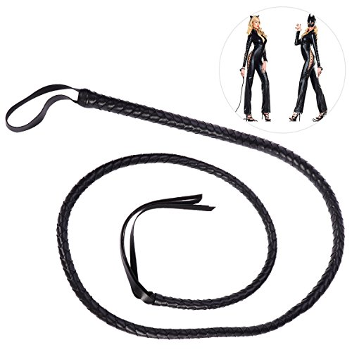 BESTOYARD Black Whip Catwoman Whip Costume Accessories 1.6m