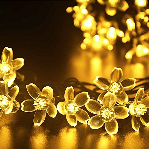 GMY Lighting 50 LED Solar String Lights flower Shaped, Christmas Patio Lights, Garden, Holiday, Party Decor (Warm White)