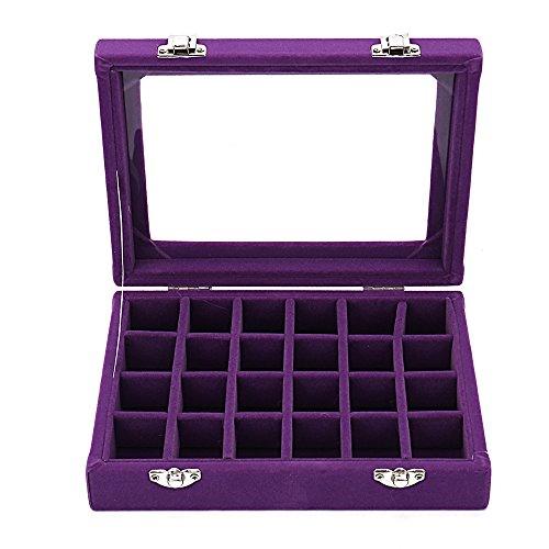 Grid Girl - Sky Piea 24 Grid Velvet Glass Jewelry Box Jewellery Organiser Earring Ring Storage Holder Case Box (Purple)