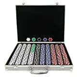 Trademark Poker 1000 Dice-Striped Chips in Aluminum Case, 11.5gm
