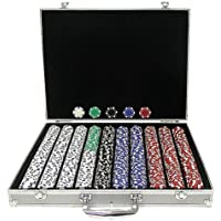 Trademark Poker 1000 Dice-Striped Poker Chips With Aluminum Case
