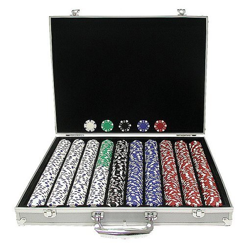 Trademark Poker 1000 11.5-Gram Dice-Striped Chips in Aluminum Case by Trademark Poker