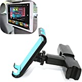 Ablerv Adjustable Car Seat Headrest Mount and Holder Apple ipad Series and Samsung Note, Motorola Xoom and 4.5 inch to 12.9 inch iPad Pro, Mini, Surface, Nintendo Switch, Kindle Fire Tablets - Blue