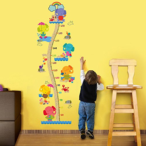 - decalmile Animal Elephants Height Chart Wall Stickers for Kids Removable Measurement Wall Decals Baby Nursery Bedroom Playroom Kids Room Wall Decor