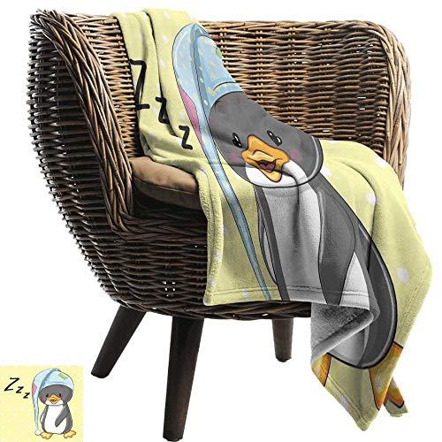 (BelleAckerman Baby Blanket,Cartoon,Sleepy Baby Penguin in Hood Ready to Bed Childhood Happy Dream Cartoon Art,Yellow Grey White,Super Soft Light Weight Cozy Warm Plush Hypoallergenic Blanket 60