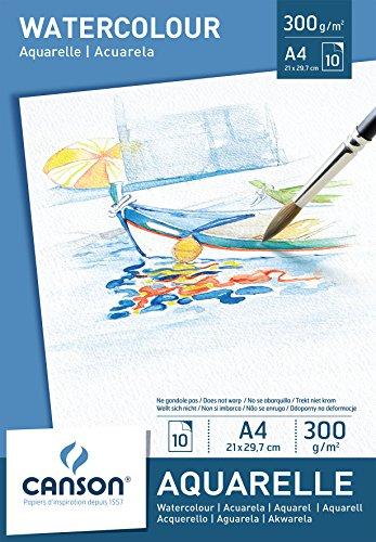 Canson 200005789 - Aquarellpapier A4, 300 g/m², 10 Blatt, weiß