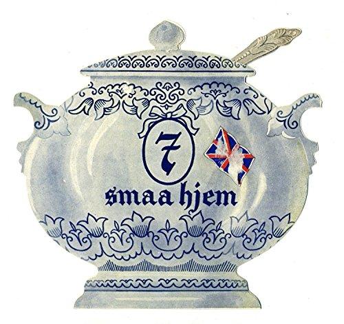 Denmark Postcard - Soup Toureen and Ladle Shaped MENU 7 Small Houses Copenhagen Denmark