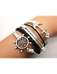 Jirong Anchor-rudder-motto (Engraved Where There's a Will There's a Way) Bracelet-bronze Personalized Friendship Gift 2384r