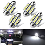 Tinpec 4pcs 31mm Festoon 12SMD LED Interior Dome Map Lights 3022 3021 DE3022 DE3175, White