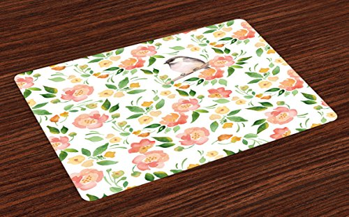 Ambesonne Floral Place Mats Set of 4, Flower Petals Blossoms Leaves and Bird Sitting Vintage Inspired Image, Washable Fabric Placemats for Dining Room Kitchen Table Decor, Coral Fern Green White
