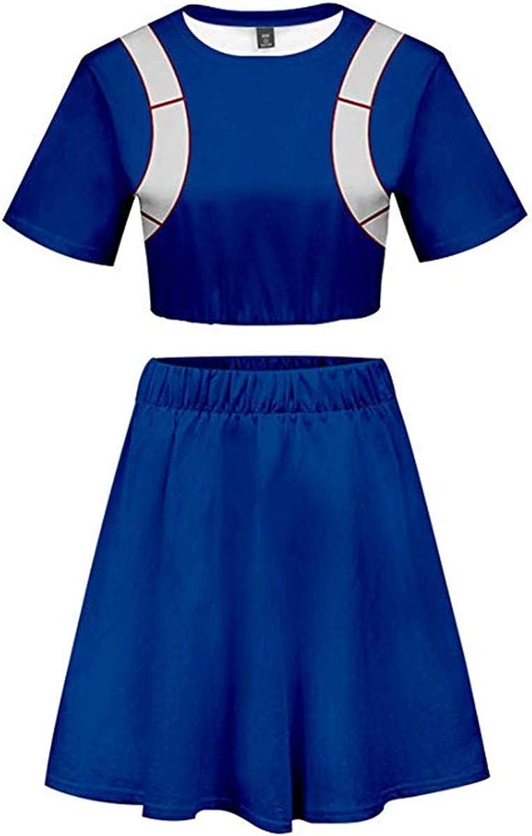 Staringirl Women Girls Anime Cosplay My Hero Academia Asui Tsuyu Uraraka Bakugou Todoroki Costume Cheerleader Cheerleading Uniform Crop Top Dress S Tag M