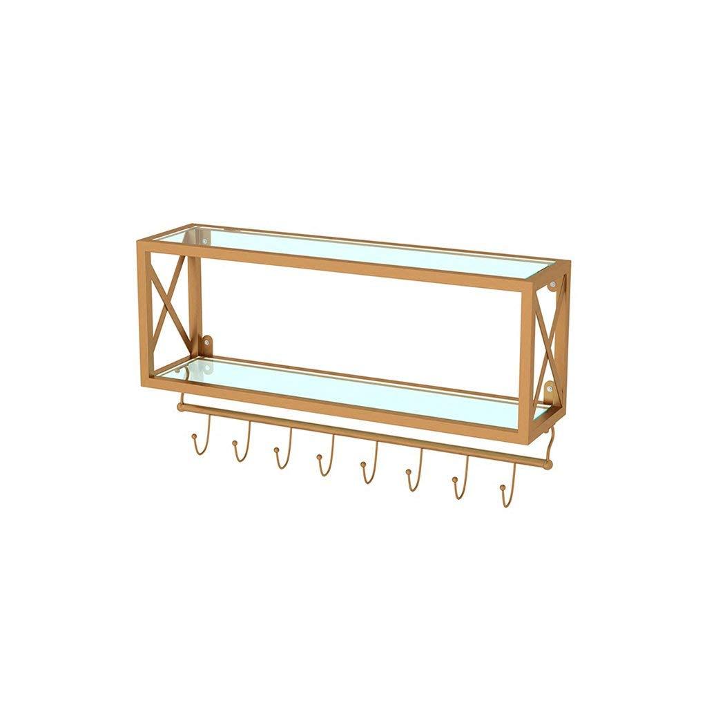 YCT クリエイティブキッチン棚テンペガラスリビングルームの壁棚ぶら下げ壁の装飾ゴールデン収納カップホルダーフック (サイズ : 80*20*45cm) B07SVSY2XX  80*20*45cm